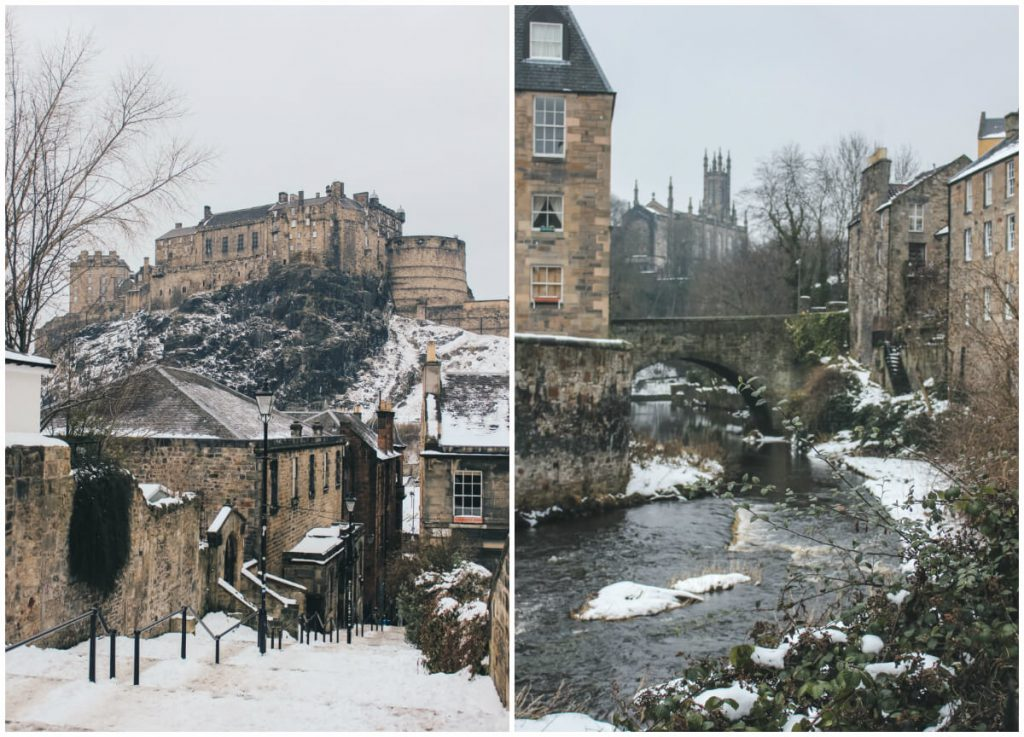 Winter in Ediburgh. View from the Vellen (left) and Dean Village (right). March 2018